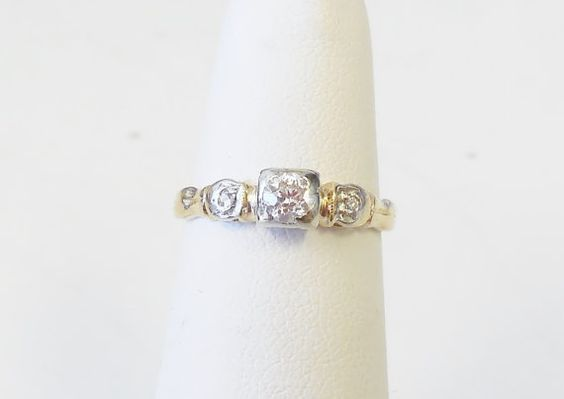 Vintage Antique 14k Yellow and White Gold .20ct Diamond Engagement Ring 1920 Art Deco