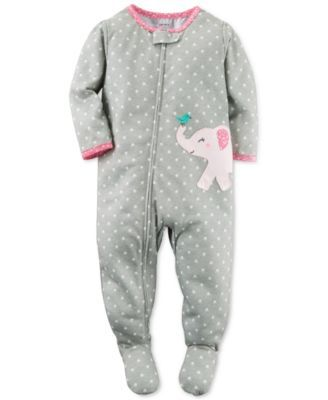 Carter's Baby Girls' 1-Pc. Dot-Print Elephant Footed Pajamas | macys.com