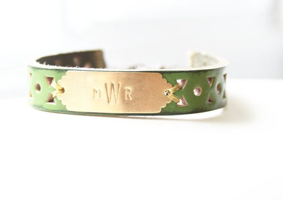 Monogram Green Leather Bracelet