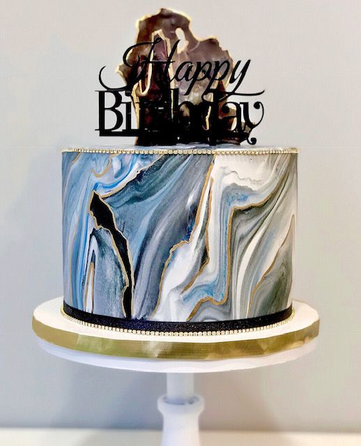 Admirable Navy And Black Marbled Birthday Cake 30Th Birthday Cakes For Men Personalised Birthday Cards Petedlily Jamesorg