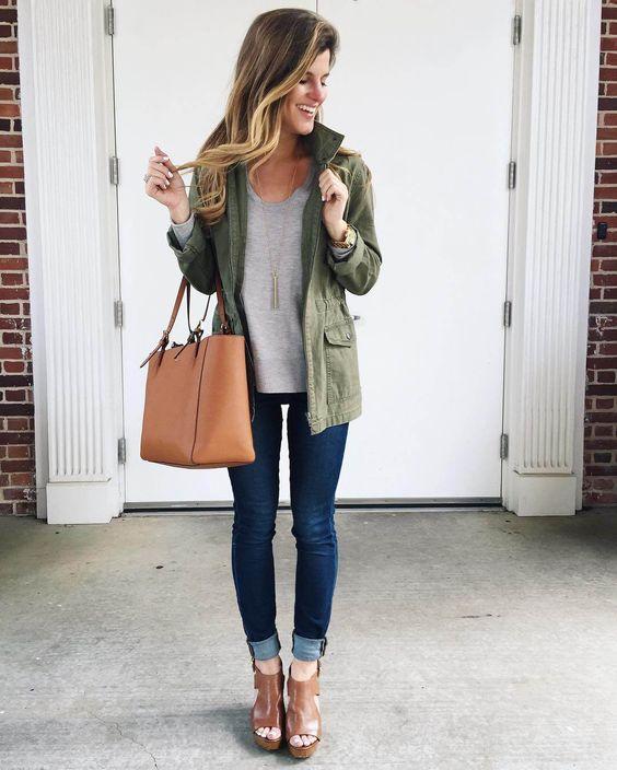 jeans, peep toe booties, military jacket, grey sweater: