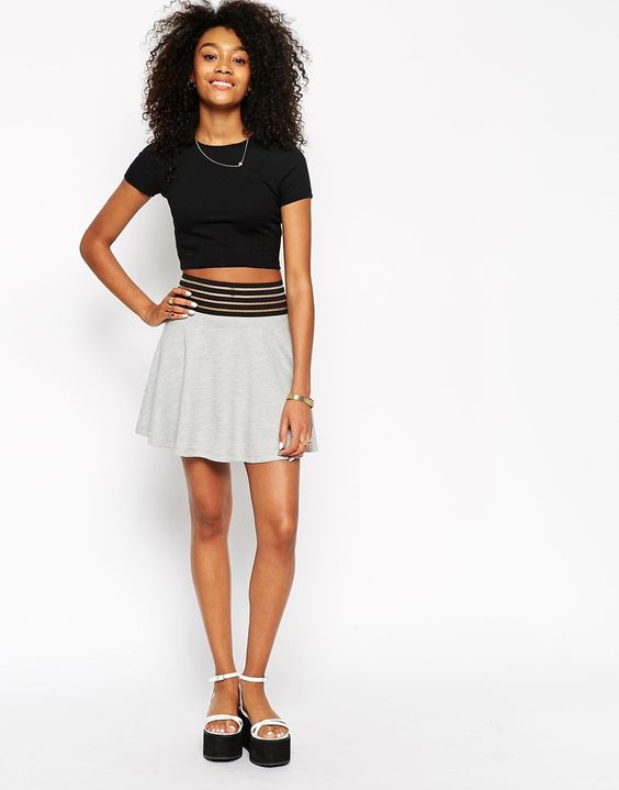 ASOS Circle Skirt With Exposed Waistband