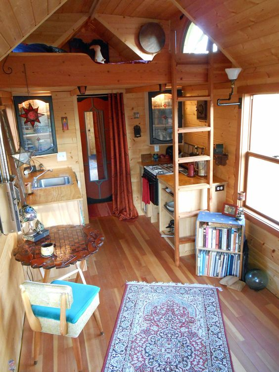 A tiny house on wheels in Freeland, Washington. A tiny little house, full of only necessary, beautiful things.