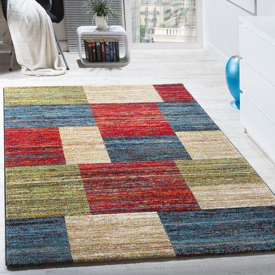 teppiche modern wohnzimmer teppich spezial melierung karo muster rot creme grn wohn und schlafbereich designer teppiche - Wohnzimmer Rot Creme