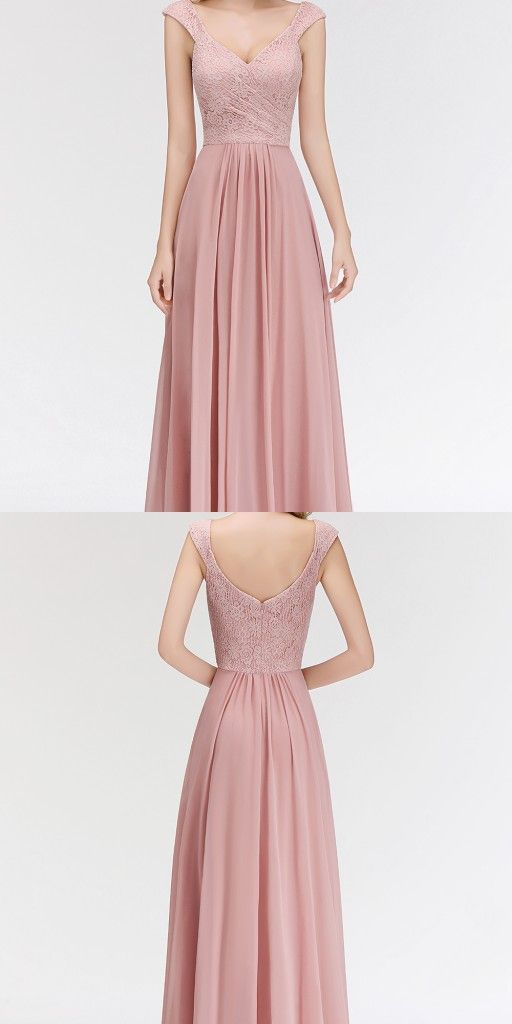 Fashion Brautjungfernkleider Rosa Spitze Chiffon Lang Altrosa Kleider Brautjungfer Modellnummer Bm0055 Dresses Wedding Dresses Bridesmaid Dresses