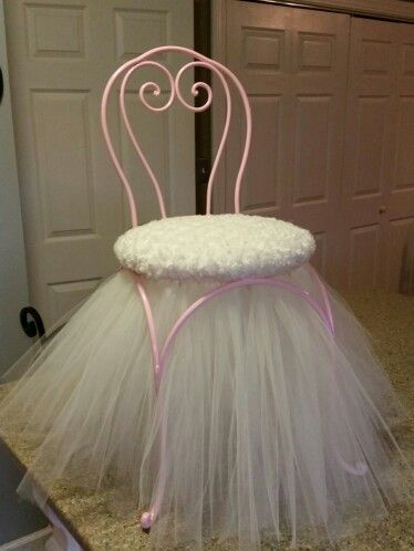 Princess Stool Chair With Tulle Skirt Shabby Chic