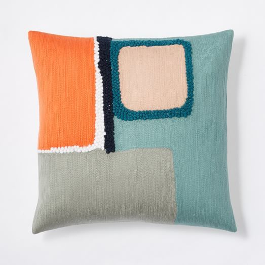 Crewel Offset Color Blocks Pillow Cover - Light Pool | west elm: