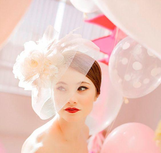 Bridal Hat Wedding Hair Accessory Wedding Veil by PowderBlueBijoux,