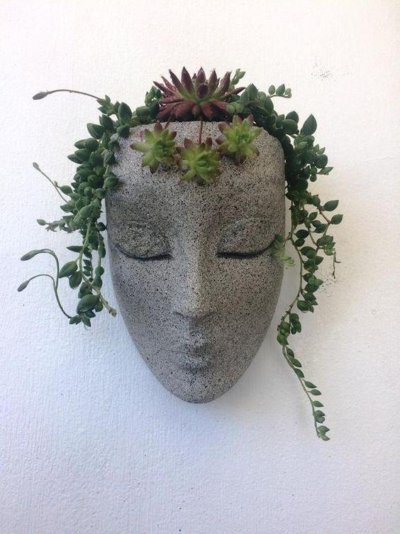 Vertical planter planter headplanters concrete planter | Etsy