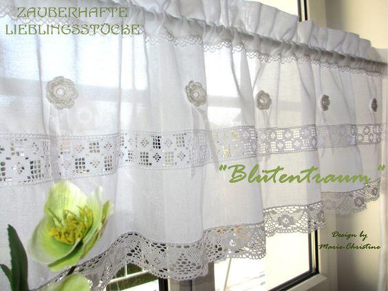 Gardinen - Gardine Blüte French Shabby Chic Spitze Rose  - ein Designerstück von christa-123 bei DaWanda