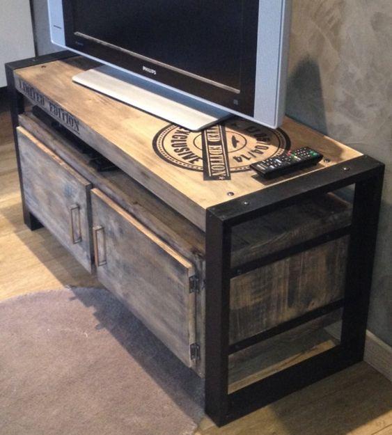 meuble tv industriel tables ed concept fait maison home decor pinterest tables tvs. Black Bedroom Furniture Sets. Home Design Ideas