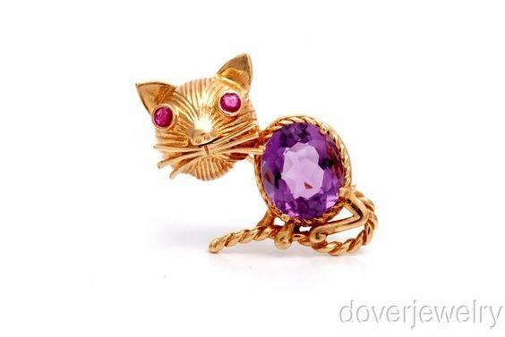 Antique 9.40ct Amethyst Ruby 14K Gold Cat Brooch Pin Pendant 11.6 Grams NR