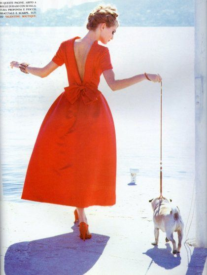 gorgeous dress, love the color and the pug.