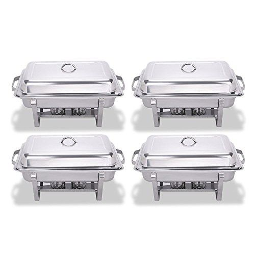 King Chafing Dish Set Of 4 Stainless Steel Chafer Full Size 8