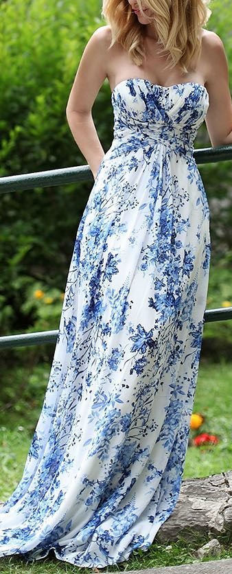Lovely blue and white maxi dress for summer