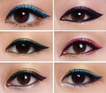 Se você adora brincar com cores, use delineadores de diferentes cores em cima e embaixo. | 19 ideias incríveis de maquiagens para olhos orientais
