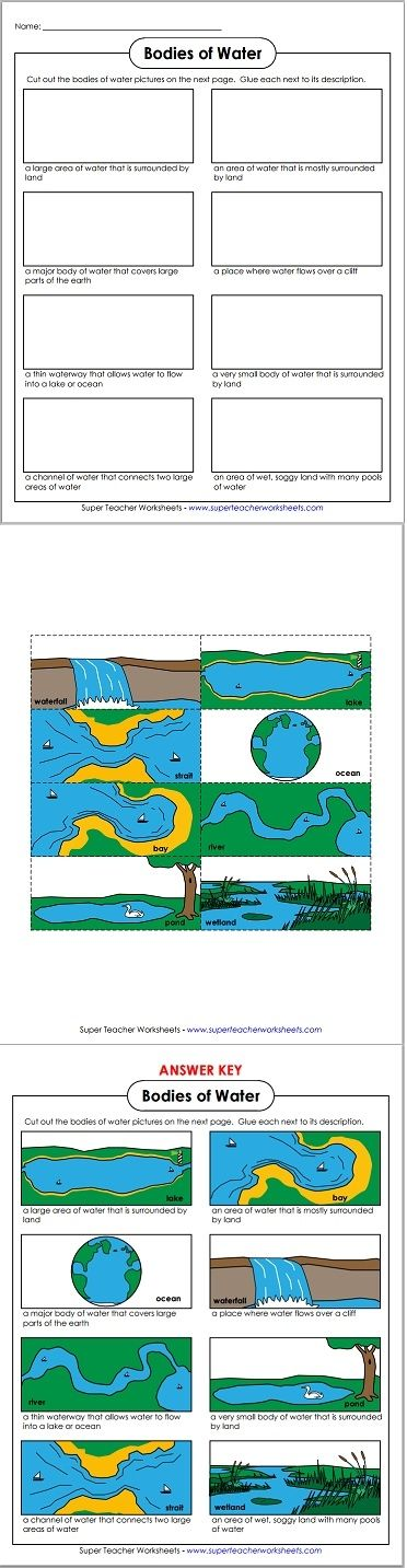 Worksheets Landforms And Bodies Of Water Worksheet pinterest the worlds catalog of ideas this bodies water cut and glue activity is great to use with our