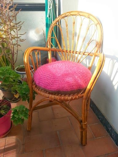 Coj n redondo a crochet tutorial en espa ol almohadones - Cojin redondo silla ...
