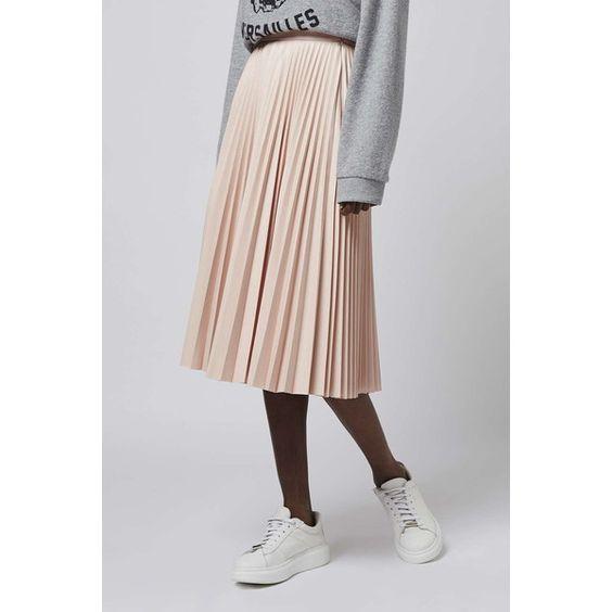 PU Pleated Midi Skirt (140 CAD) ❤ liked on Polyvore featuring skirts