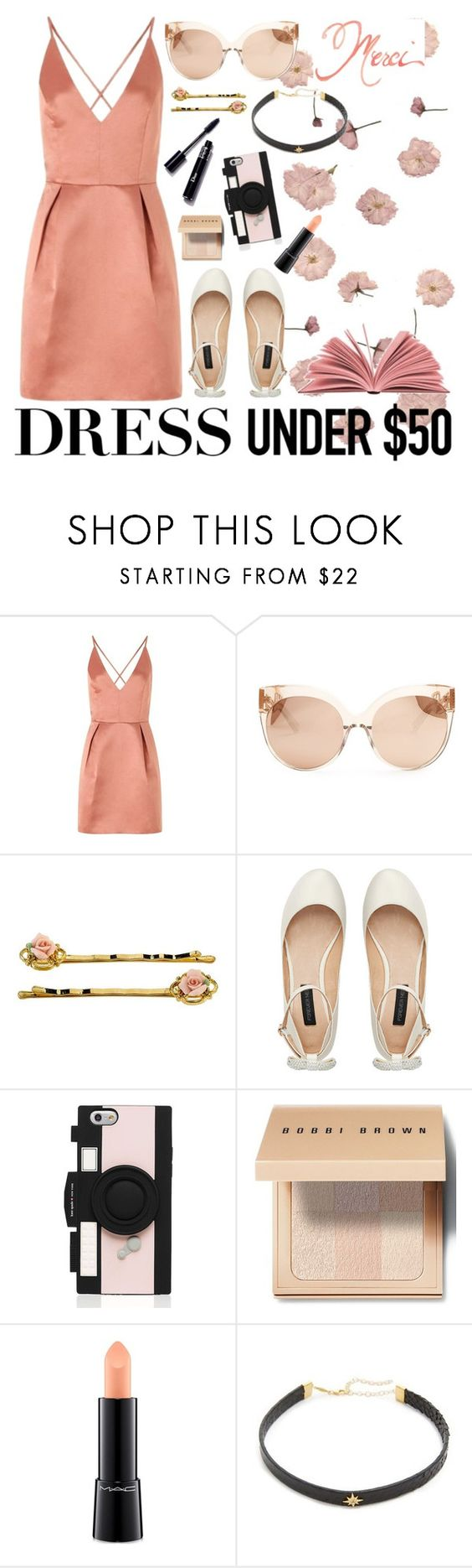 """Contest set #2"" by georgia-grace-sheldon ❤ liked on Polyvore featuring Lipsy, Linda Farrow, Forever New, Kate Spade, Bobbi Brown Cosmetics, MAC Cosmetics, Jacquie Aiche and Dressunder50"
