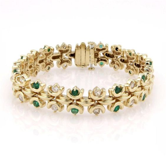 Estate 14K Yellow Gold Fancy Emerald & Diamond Bracelet