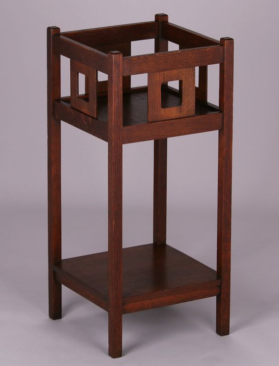 Grand Rapids cutout plant stand similar to Limbert c1910. Unsigned. 35″h x 15.25″sq