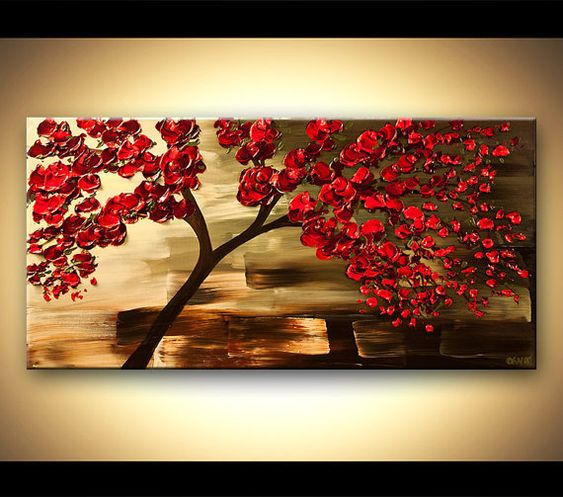 "Contemporáneo moderno Resumen original pintura 48"" por Osnat rojo, verde oliva, listo para colgar 48"" espátula - hecho por encargo"