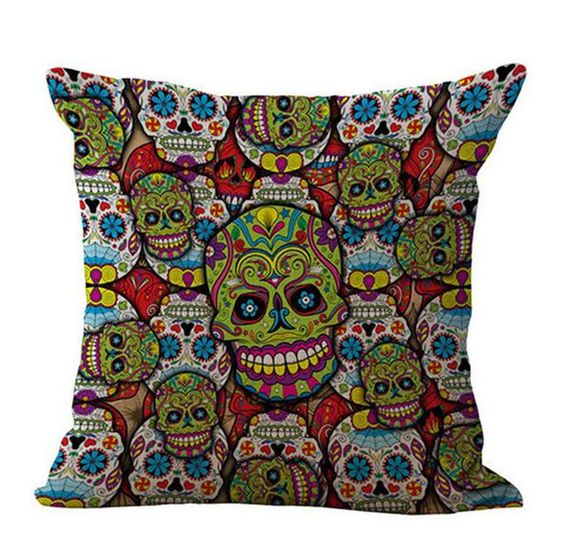 "Sugar Skull Cushion Cover with Halloween and Green Psychedelic patterns Cushion cover only. - Material: Cotton/Linen - Size: 45cm*45cm (18""*18"") (approx.)"