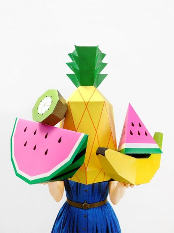 Giant Tropical Fruit Paper Sculpture Kit - fun oversized photo prop for fruit parties