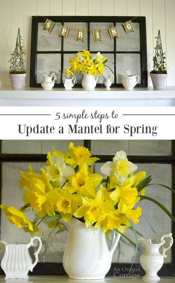 How to update a mantel for spring in just a few easy steps using what you have to highlight the fresh flowers of spring. PLUS get a quick DIY topiary idea to add height to your mantel or use for other spring and summer home decor. DIYMySpring
