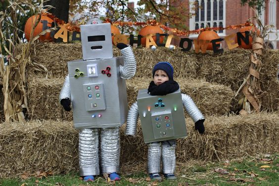 Homemade Light-Up Robot Halloween Costumes