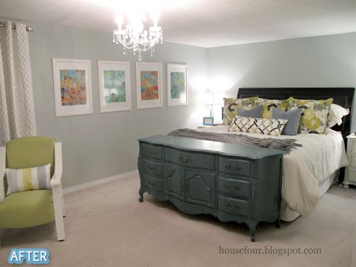 Better After: A change in perspective.//I really like the dresser at the foot of the bed. it's like a functional footboard!
