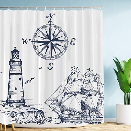 Vimmucir Sail Boat Nautical Shower Curtain Lighthouse An Https