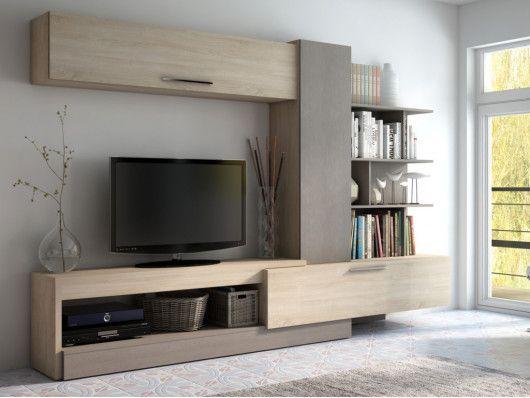 Mur Tv Spike Avec Rangements Chene Taupe Deco Meuble Tele Design De Maison Contemporaine Meuble Tv Mural Design