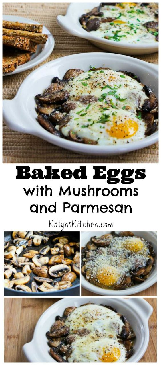 Baked Eggs with Mushrooms and Parmesan | Baked Eggs, Mushrooms and ...