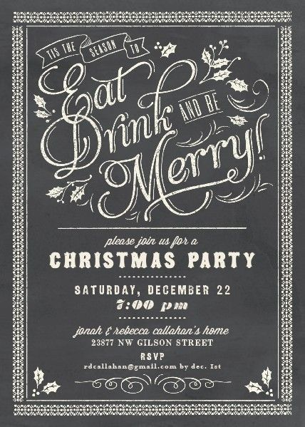 Chalkboard Celebration Holiday Party Invitations by Elli