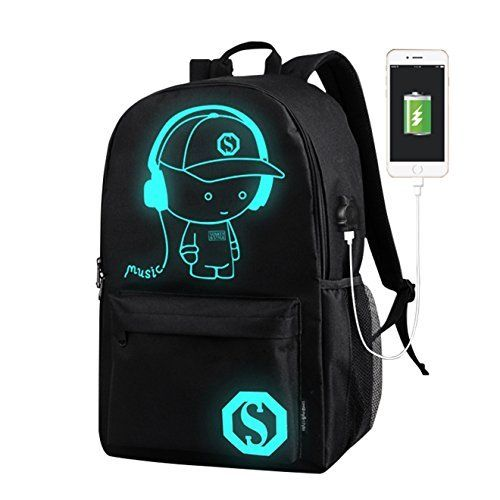 Anti-theft Backpack Luminous Casual School Travel Bags with USB Charging Port UK