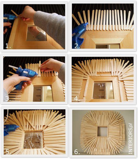 Ice Cream Sticks Frame DIY Interiorspl Strona Gwna Lustrzane Diy