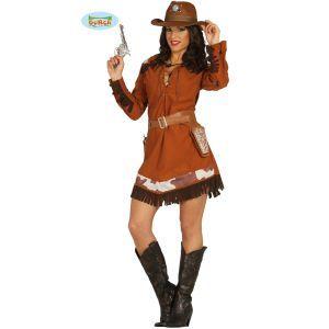 Ce costume de cowgirl comprenant une robe marron avec frange sera parfait pour vivre un évènement country ou USA!