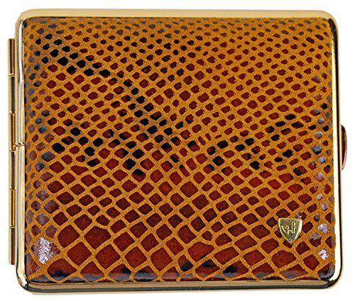 Zigarettenetui Echtleder Dunkelblau Gold Zigarettenbox f/ür 18 Zigaretten