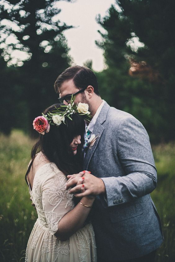 Floral Crown | Beet and Yarrow Floral Design | Caitlin Fairly Photography | Vintage wedding