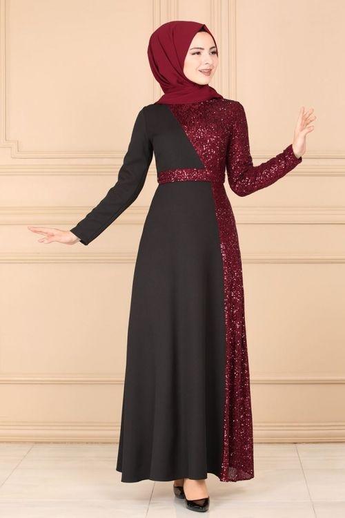 Modaselvim Abiye Pul Islemeli Abiye 8611d170 Siyah Bordo Elbiseler Elbise Giyim