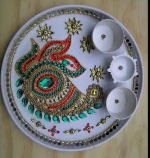 Aarti thali rangoli pinterest for Aarti thali decoration with kundan