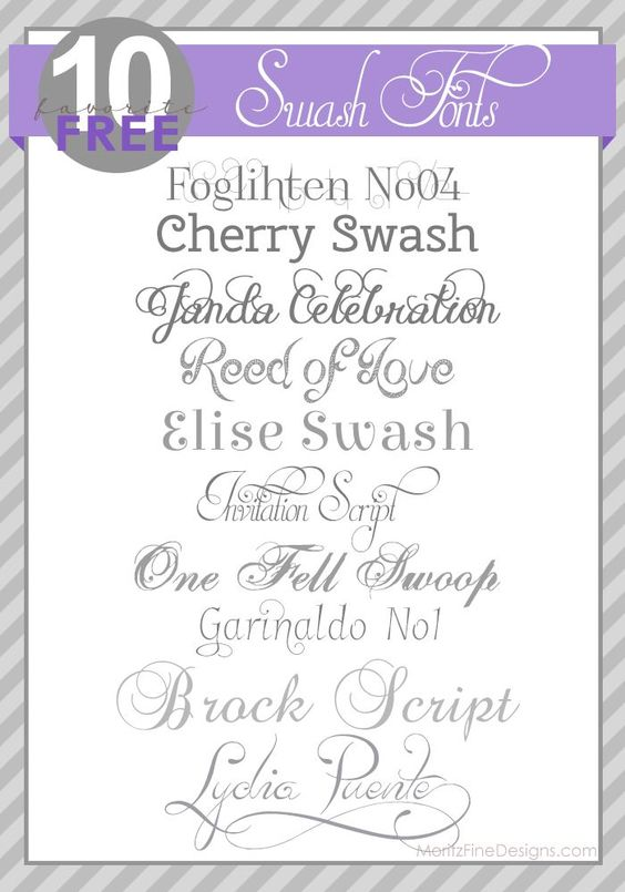 Best Wedding and Shower Invitation Fonts | Free Swash Fonts from Moritz Fine Blog Designs  ~~ {10 free fonts w/ easy download links}