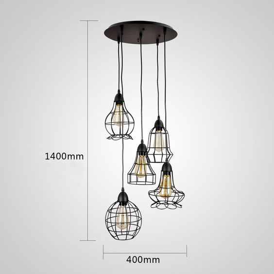 grande suspension ou lustre vintage 5 ampoules en cage hauteur 140cm 200 shopping mon. Black Bedroom Furniture Sets. Home Design Ideas