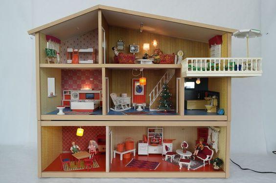 Orig. LUNDBY Puppenhaus beleuchtet 3 Etagen 7 Zimmer Balkon viel Zubehör! /A458 | eBay