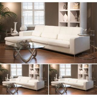 Great looking, great reviews and great price...@Overstock - Update your home decor with this Riviera white leather sectional sofa. This 2-piece sectional sofa is upholstered in supple white top grain leather.http://www.overstock.com/Home-Garden/Riviera-White-Leather-Sectional-Sofa/4744967/product.html?CID=214117 $2,716.99