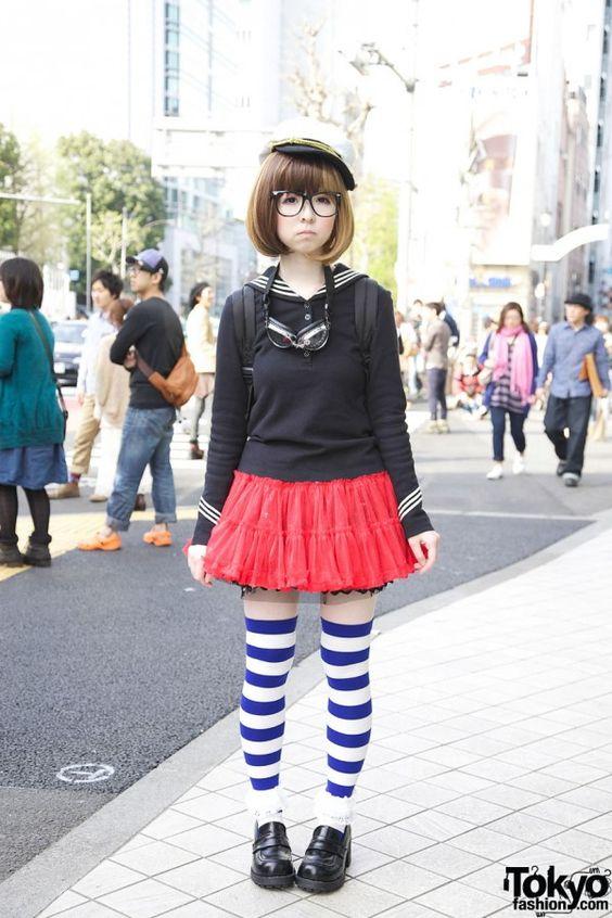 sailor shirt, red pleated skirt, striped socks