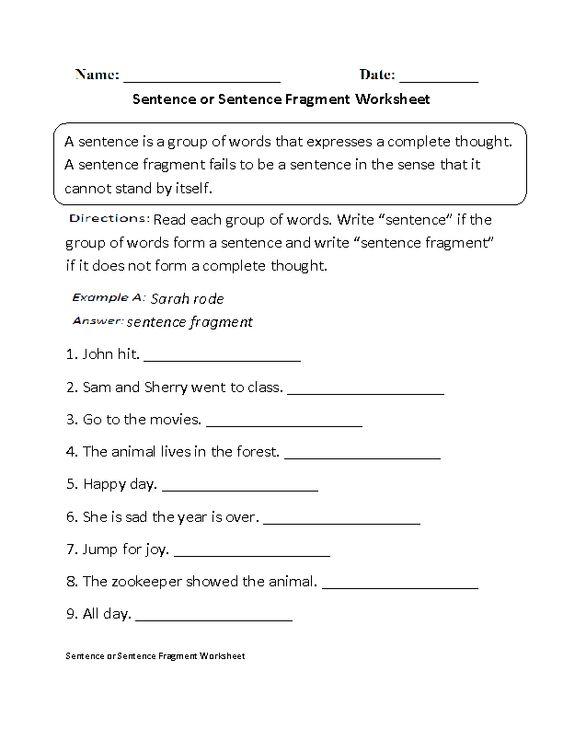 Worksheet Sentence Fragment Worksheet sentences worksheets and sentence fragments on pinterest or fragment worksheet beginner