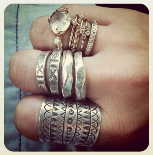 carved metal #rings and a crystal ring